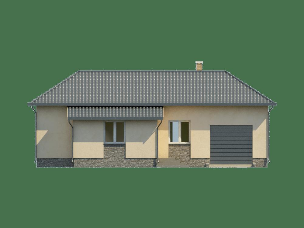 Фасад одноэтажного дома с гаражом и верандой «КО-21» - спереди