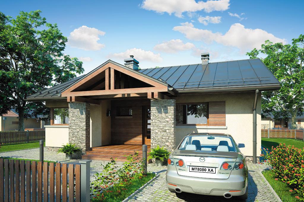 Проект одноэтажного дома с террасой «КО-98» - фото №1