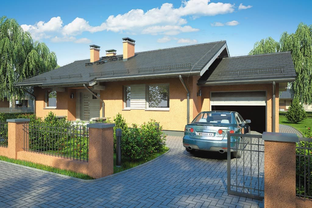 Проект одноэтажного дома с гаражом и террасой «КО-100» - фото №1