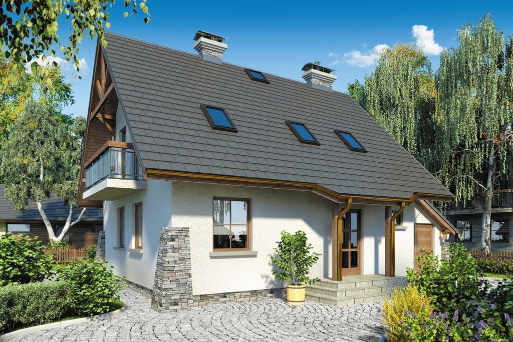 Проект мансардного дома с гаражом, террасой и балконом «КМ-66» - фото №2