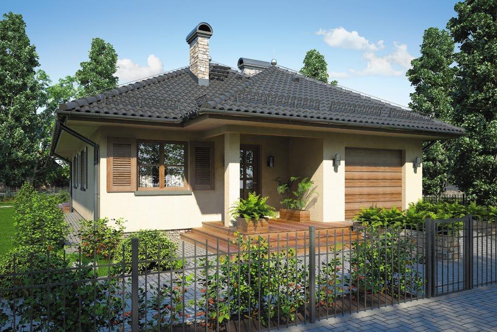 Проект одноэтажного дома с гаражом и террасой «КО-81» - фото №1
