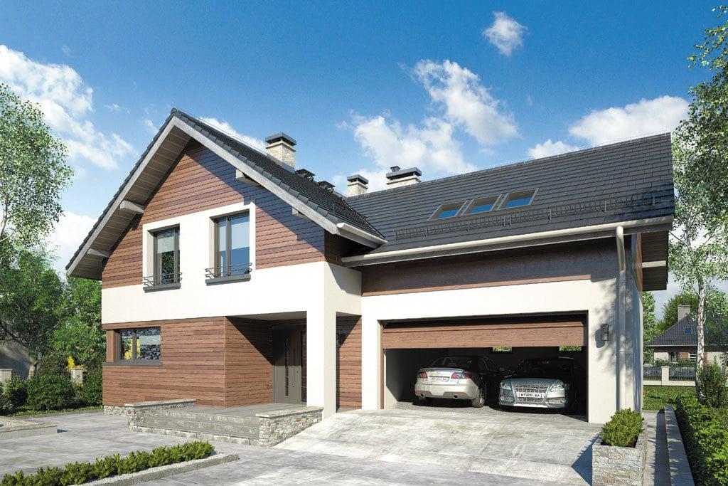 Проект мансардного дома с гаражом, террасой и балконом «КМ-72» - фото №1