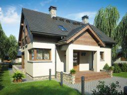 Проект мансардного дома с террасой «КМ-74»