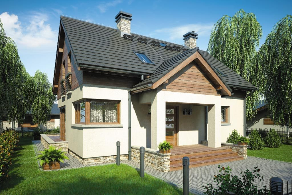 Проект мансардного дома с террасой «КМ-74» - фото №1