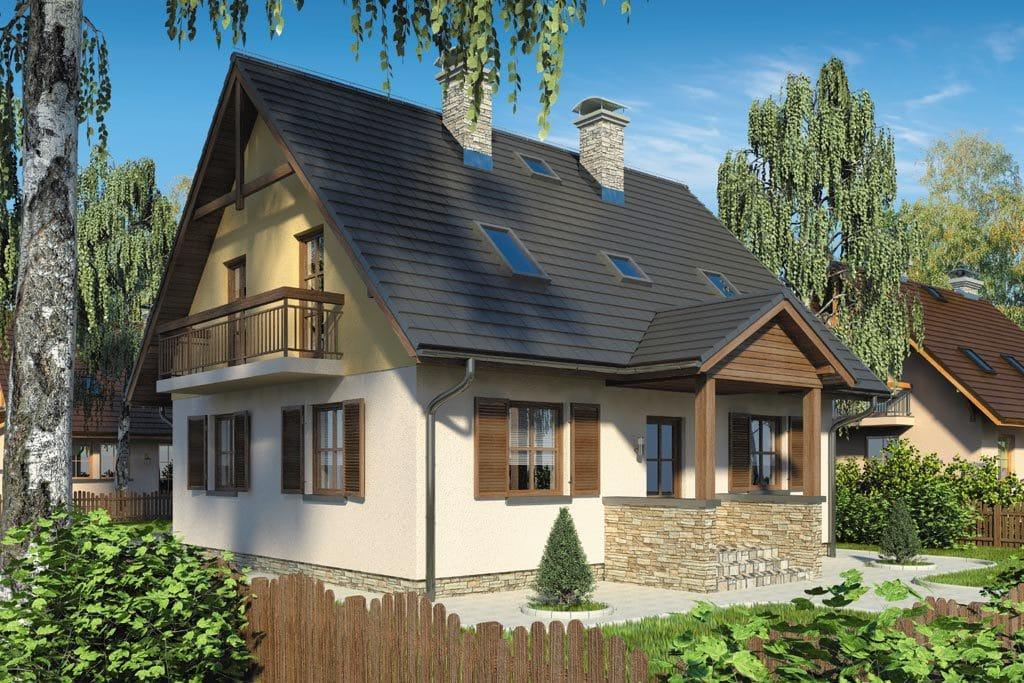 Проект мансардного дома с гаражом, террасой и балконом «КМ-78» - фото №1