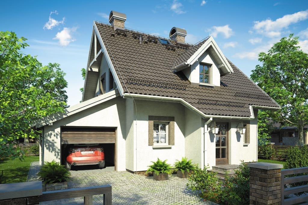 Проект мансардного дома с гаражом, террасой и балконом «КМ-82» - фото №1