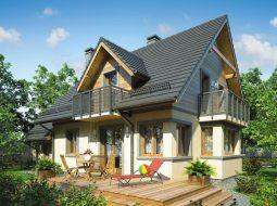 Проект мансардного дома с гаражом, террасой и балконом «КМ-70»