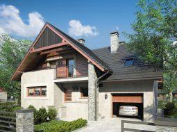 Проект мансардного дома с гаражом, террасой и балконом «КМ-86»