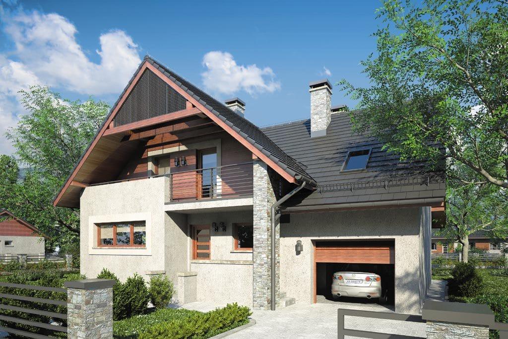 Проект мансардного дома с гаражом, террасой и балконом «КМ-86» - фото №1
