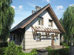 Проект мансардного дома с террасой и балконом «КМ-88»