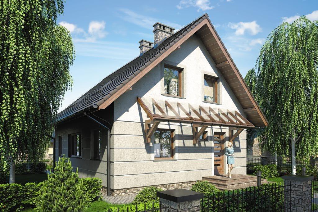 Проект мансардного дома с террасой и балконом «КМ-88» - фото №1