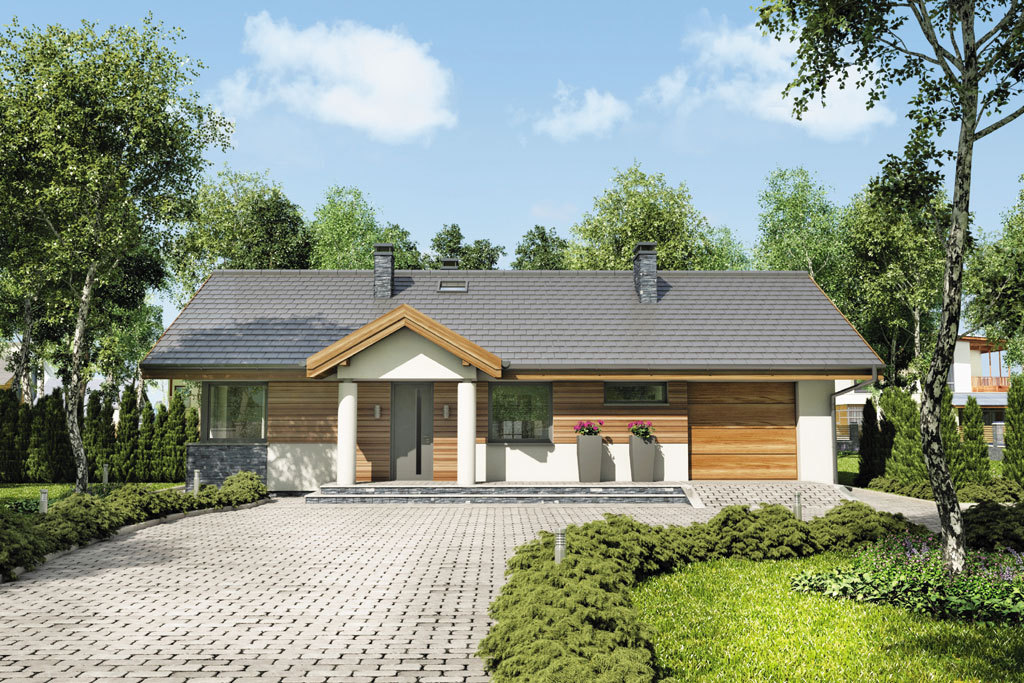 Проект одноэтажного дома с гаражом и террасой «КО-83» - фото №1