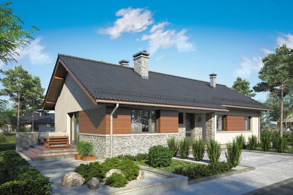 Проект одноэтажного дома с террасой «КО-85» - фото №1