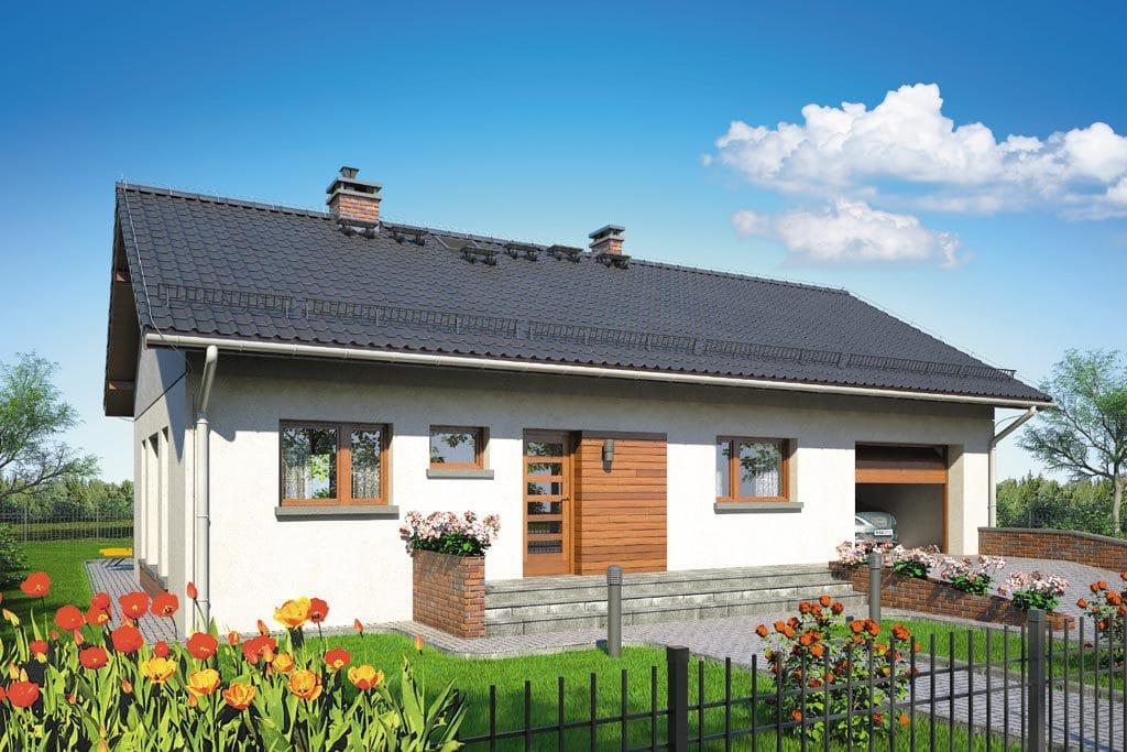 Проект одноэтажного дома с гаражом и террасой «КО-91» - фото №1