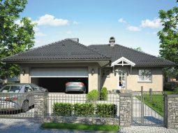 Проект одноэтажного дома с гаражом и террасой «КО-96»