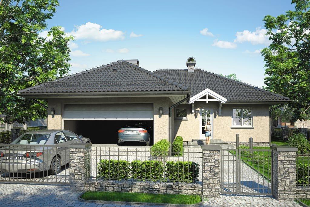 Проект одноэтажного дома с гаражом и террасой «КО-96» - фото №1