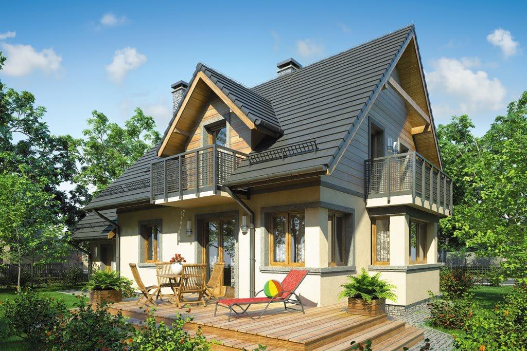 Проект мансардного дома с гаражом, террасой и балконом «КМ-70» - фото №3
