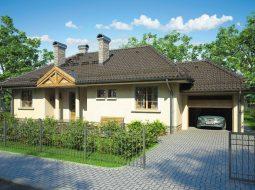 Проект одноэтажного дома с гаражом и террасой «КО-90»
