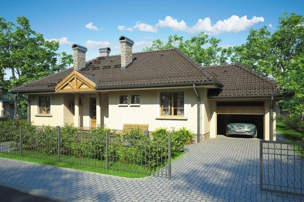 Проект одноэтажного дома с гаражом и террасой «КО-90» - фото №1