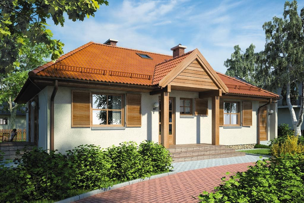 Проект одноэтажного дома с гаражом и террасой «КО-101» - фото №1