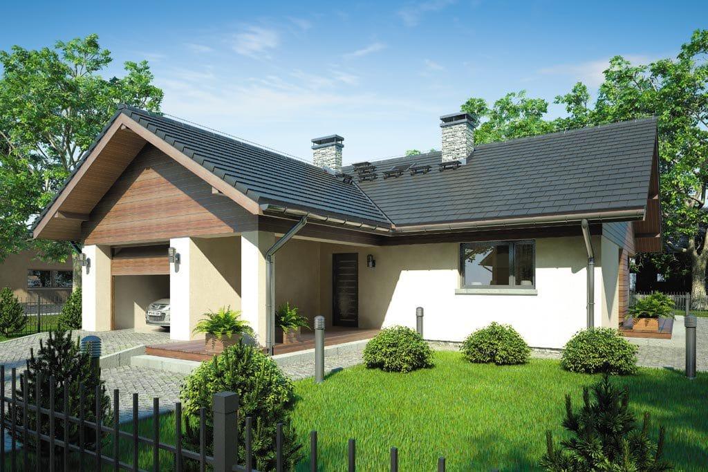 Проект одноэтажного дома с террасой и гаражом «КО-76» - фото №1