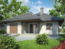 Проект одноэтажного дома с гаражом и террасой «КО-75»