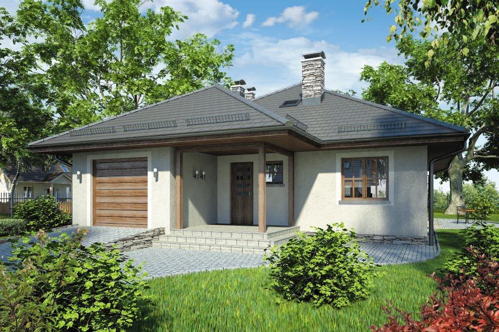 Проект одноэтажного дома с гаражом и террасой «КО-75» - фото №1