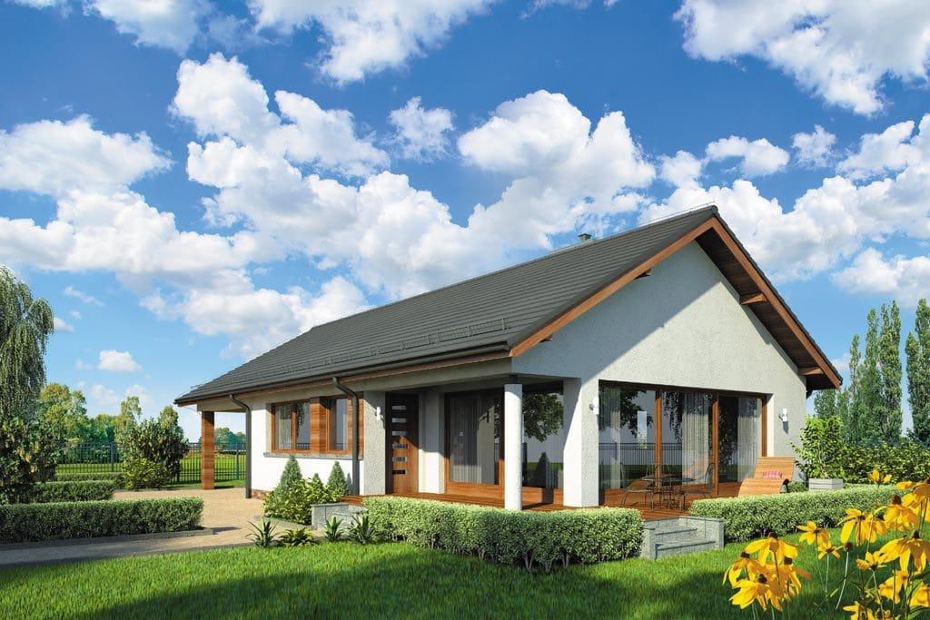 Проект одноэтажного дома с гаражом и террасой «КО-108» - фото №1