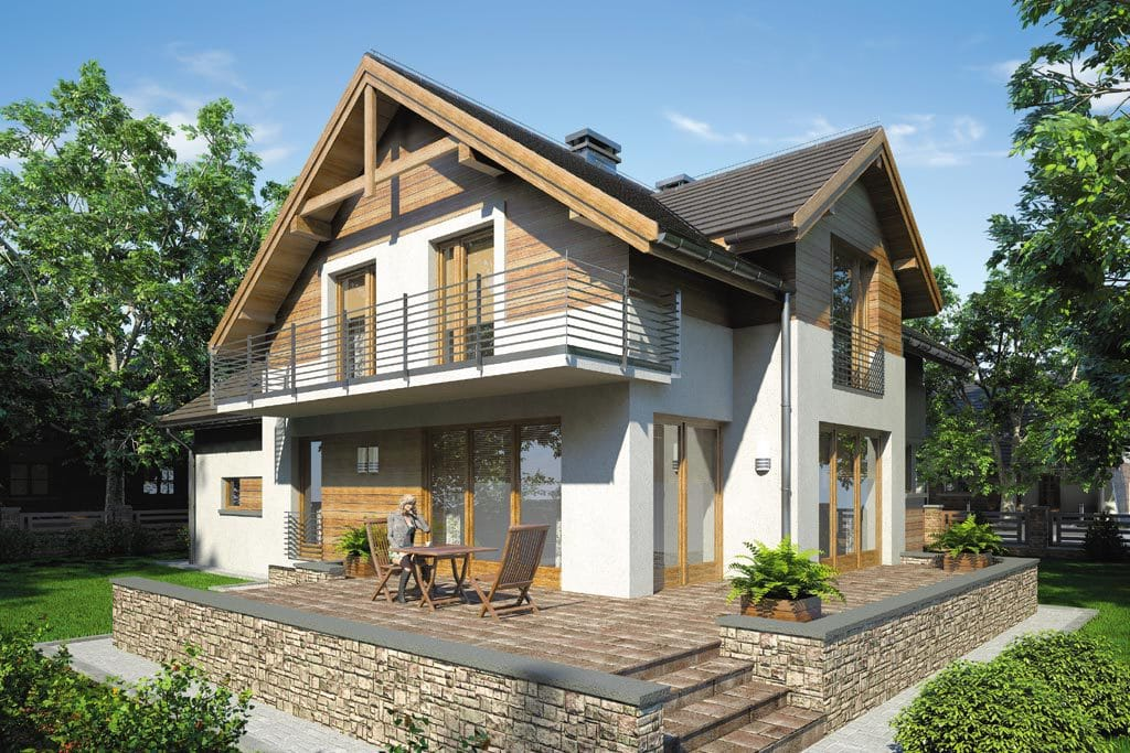Проект мансардного дома с гаражом, террасой «КМ-65» - фото №3