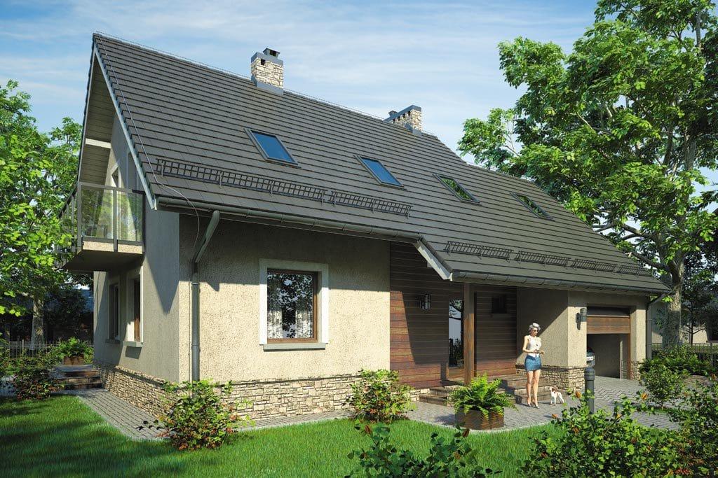 Проект мансардного дома с гаражом, террасой и балконом «КМ-67» - фото №2