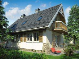 Проект мансардного дома с террасой и балконом «КМ-69»