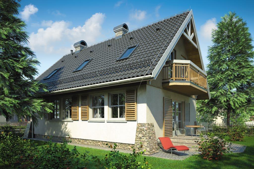 Проект мансардного дома с террасой и балконом «КМ-69» - фото №1
