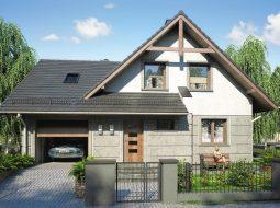Проект мансардного дома с гаражом, террасой и балконом «КМ-71»