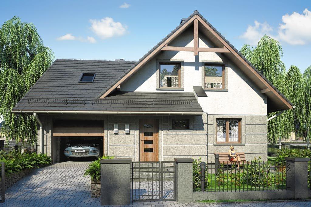 Проект мансардного дома с гаражом, террасой и балконом «КМ-71» - фото №1