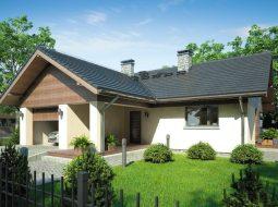 Проект одноэтажного дома с террасой и гаражом «КО-76»