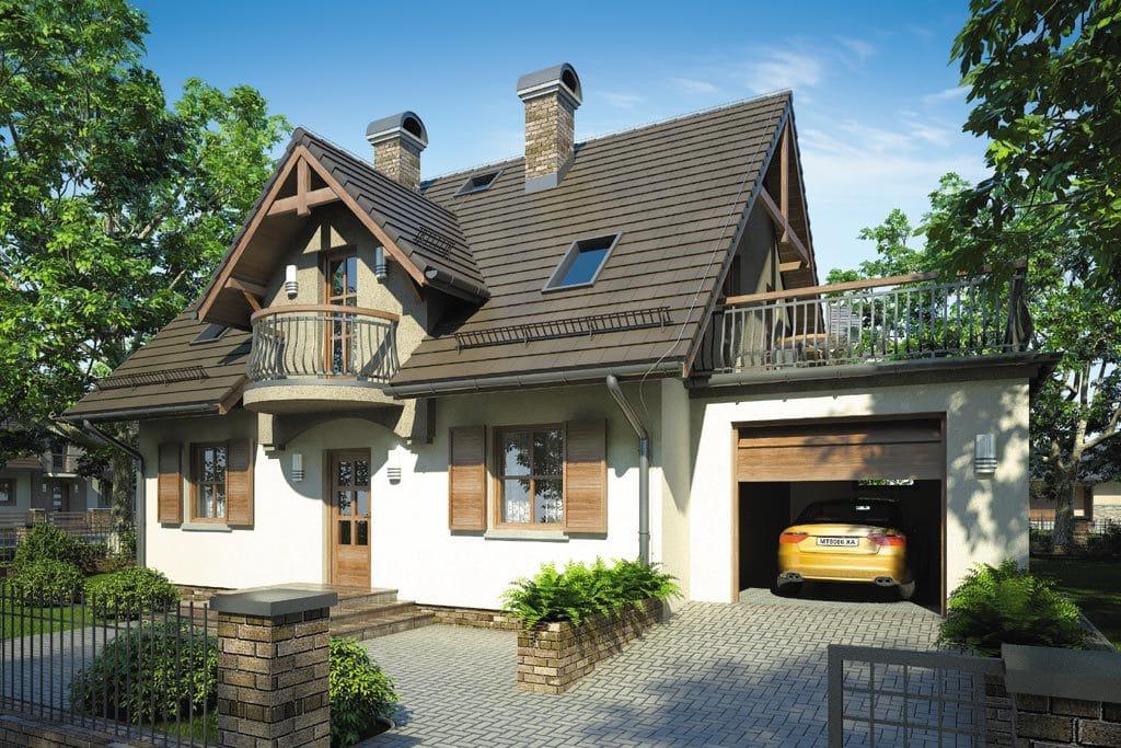 Проект мансардного дома с гаражом, террасой и балконом «КМ-73» - фото №1