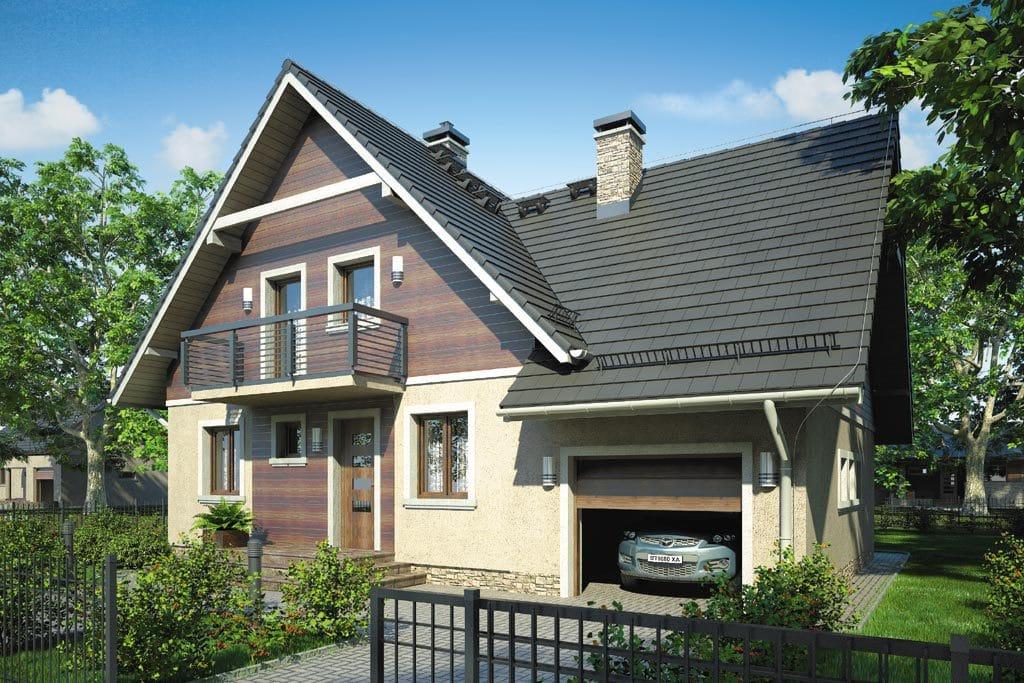 Проект мансардного дома с гаражом, террасой и балконом «КМ-77» - фото №1