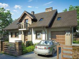 Проект мансардного дома с гаражом, террасой и балконом «КМ-79»