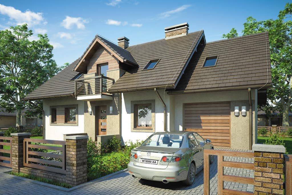 Проект мансардного дома с гаражом, террасой и балконом «КМ-79» - фото №1