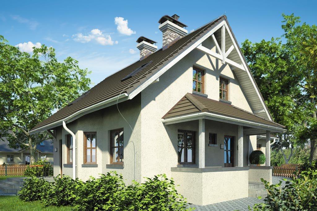 Проект мансардного дома с гаражом, террасой и балконом «КМ-81» - фото №1