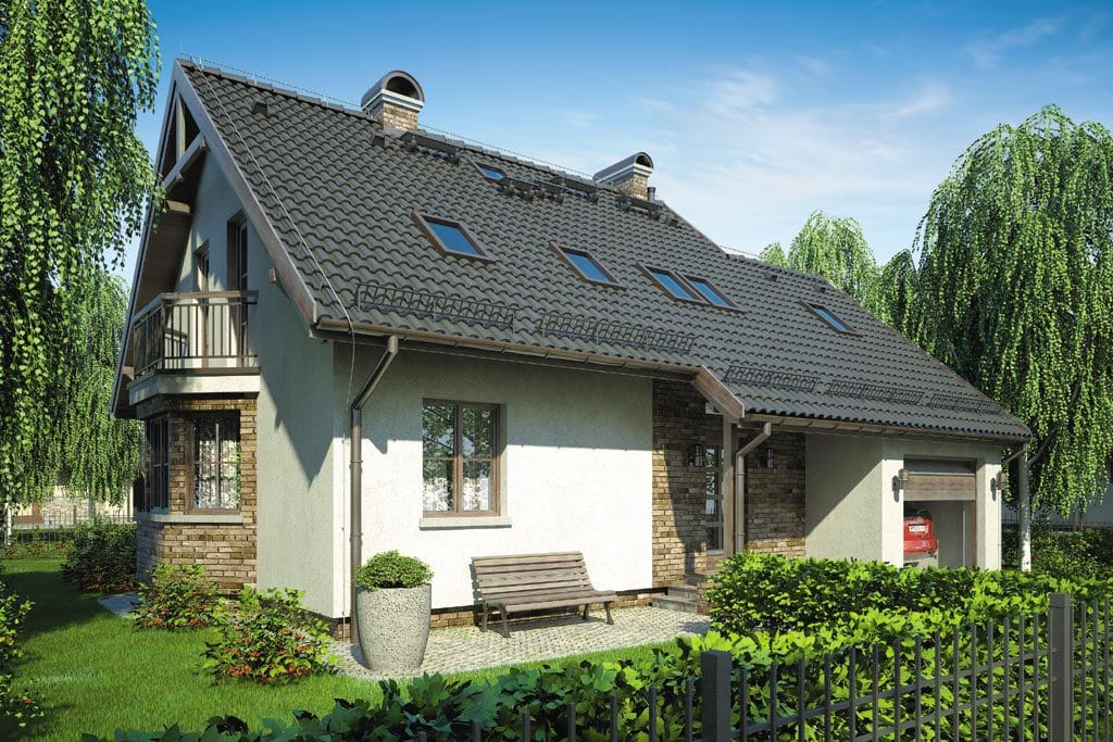 Проект мансардного дома с гаражом, террасой и балконом «КМ-83» - фото №2