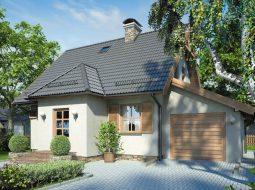 Проект мансардного дома с гаражом, террасой и балконом «КМ-85»