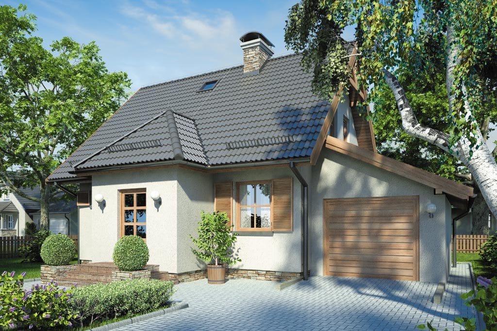 Проект мансардного дома с гаражом, террасой и балконом «КМ-85» - фото №1