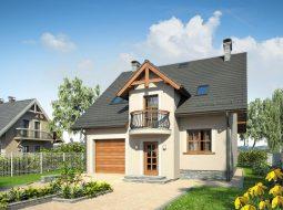 Проект мансардного дома с гаражом, террасой и балконом «КМ-87»