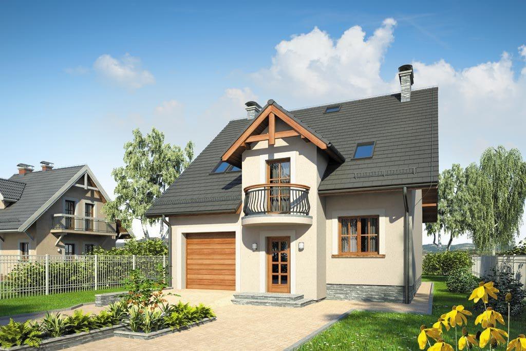 Проект мансардного дома с гаражом, террасой и балконом «КМ-87» - фото №1