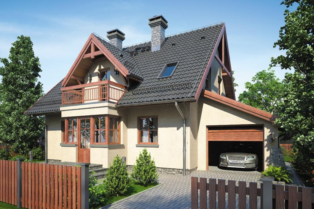 Проект мансардного дома с гаражом, террасой и балконом «КМ-89» - фото №1