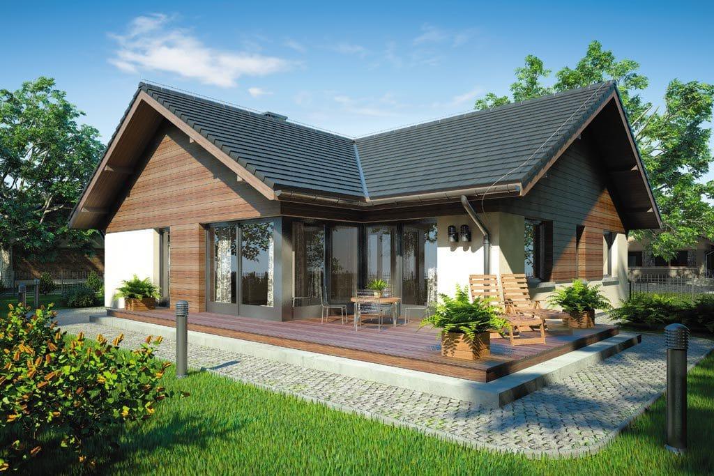 Проект одноэтажного дома с террасой и гаражом «КО-76» - фото №2