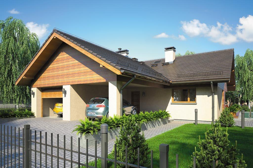 Проект одноэтажного дома с гаражом и террасой «КО-104» - фото №1