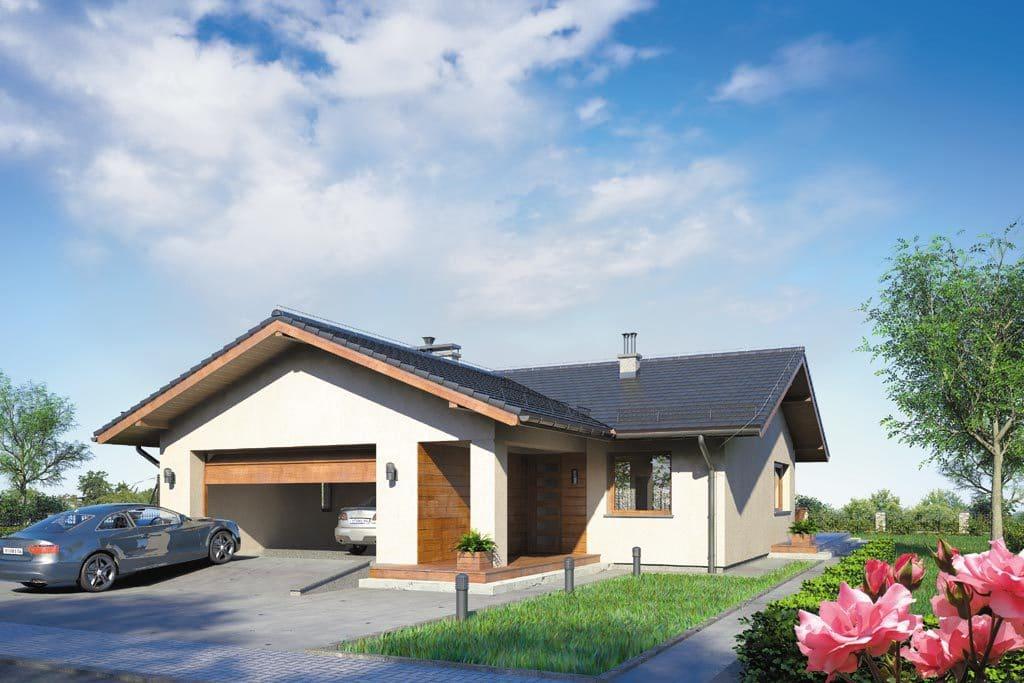 Проект одноэтажного дома с гаражом и террасой «КО-110» - фото №1