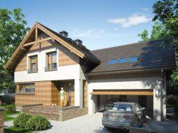 Проект мансардного дома с гаражом, террасой «КМ-65»